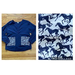 Little Figures Girls Tunic Top Horse Printed